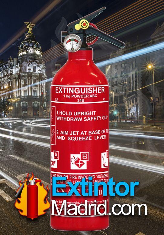 Extintor de Polvo de 1 Kg soporte coche incluido