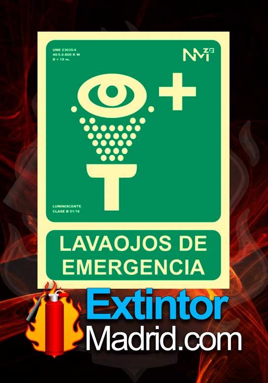 Señal de lava ojos de emergencia fotoluminiscente