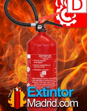 Extintor para fuegos de metales tipo D